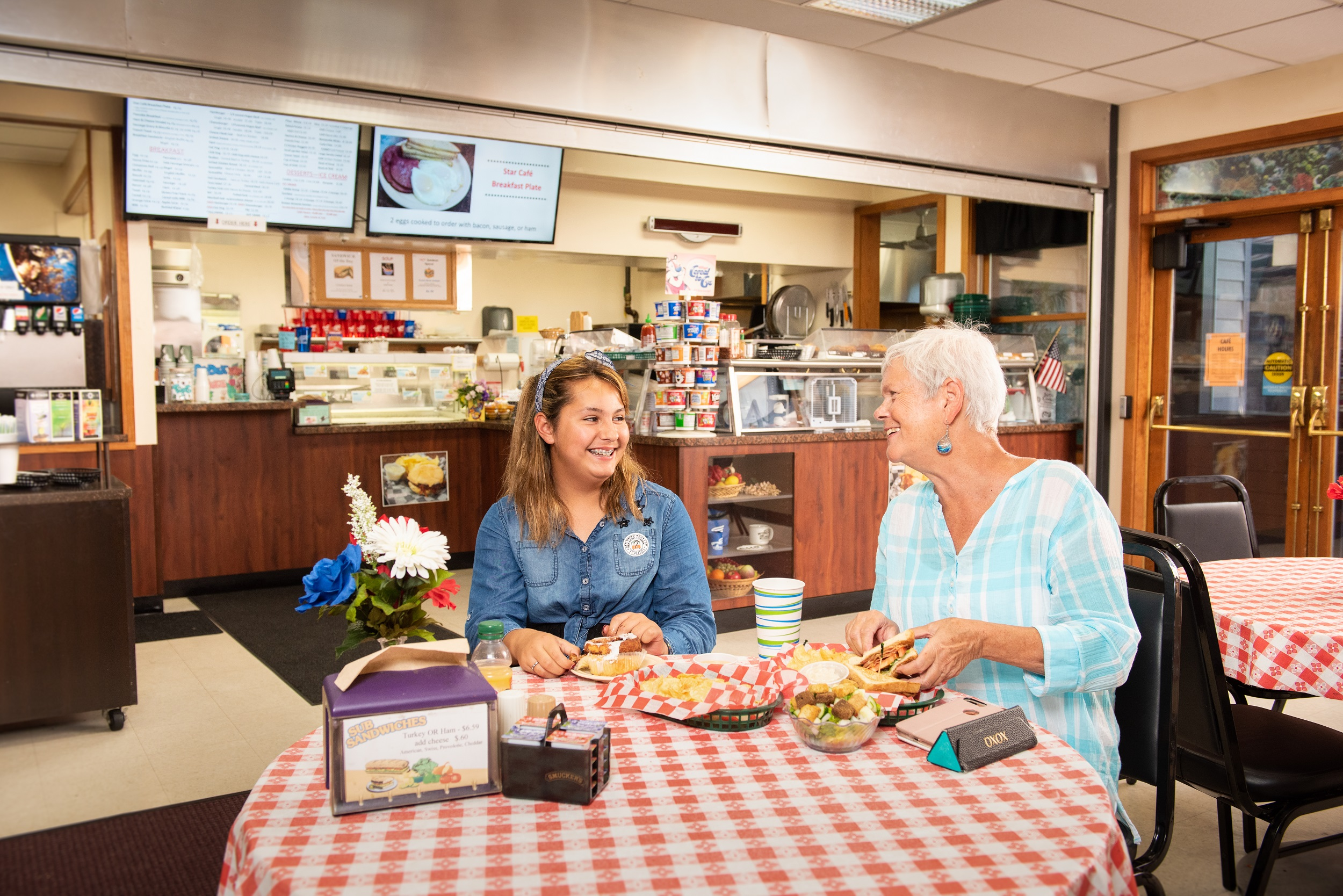 Our on-site cafe serves breakfast, lunch, dinner, and hand-dipped ice cream.