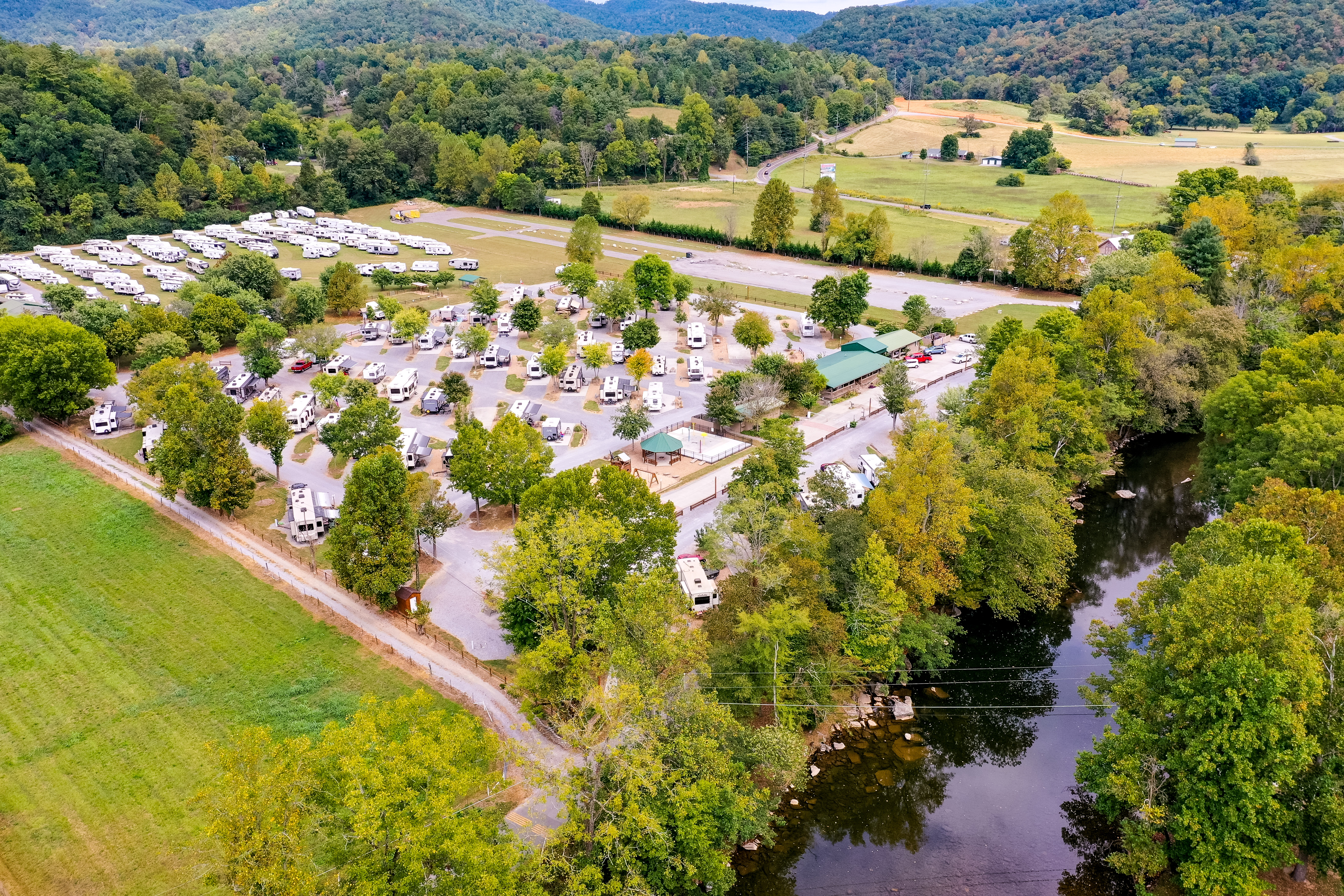 Arieal view of Big Meadow Family Campground and Little River - Great Trout Fishing!