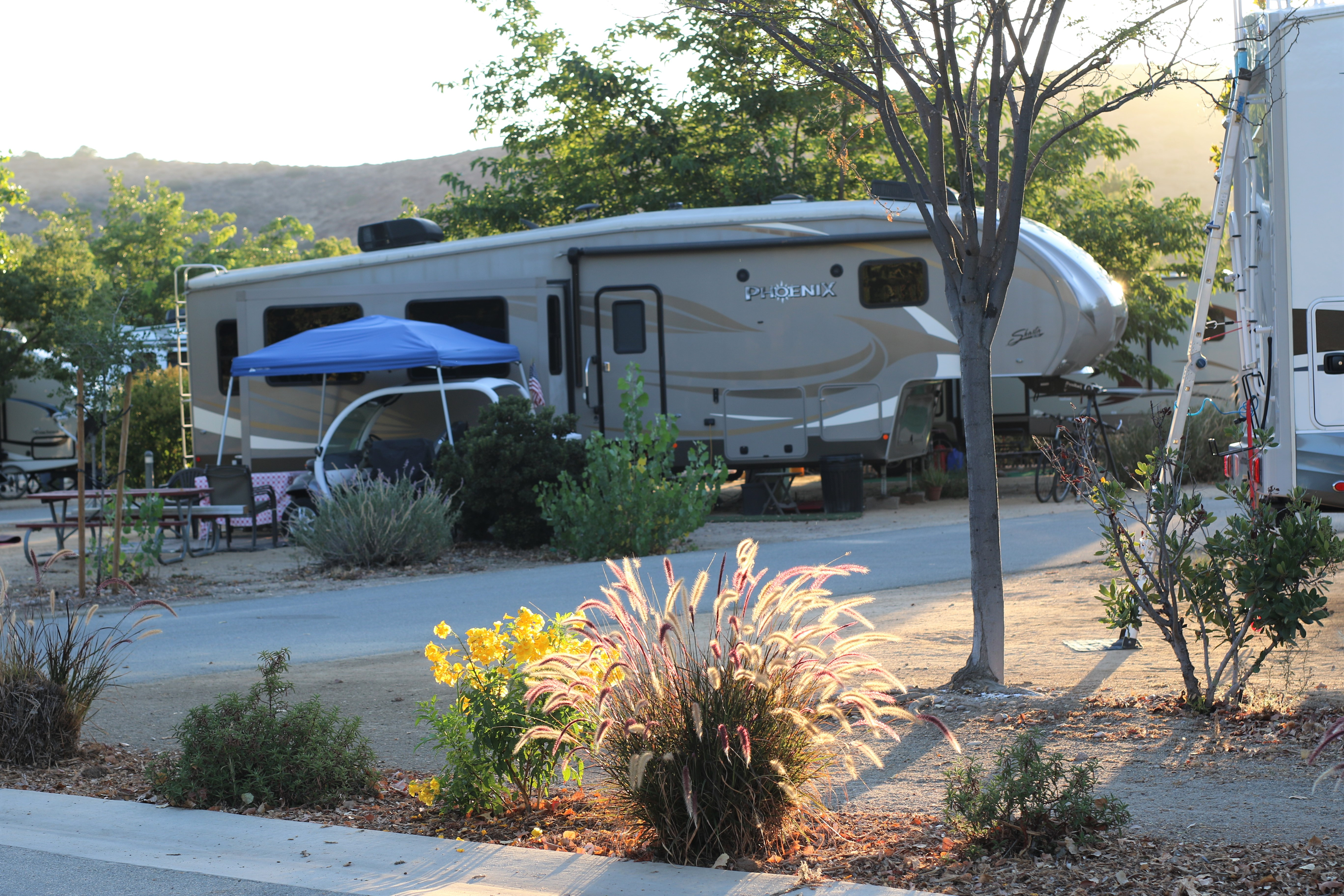Beautifully landscaped sites in the Campground.
