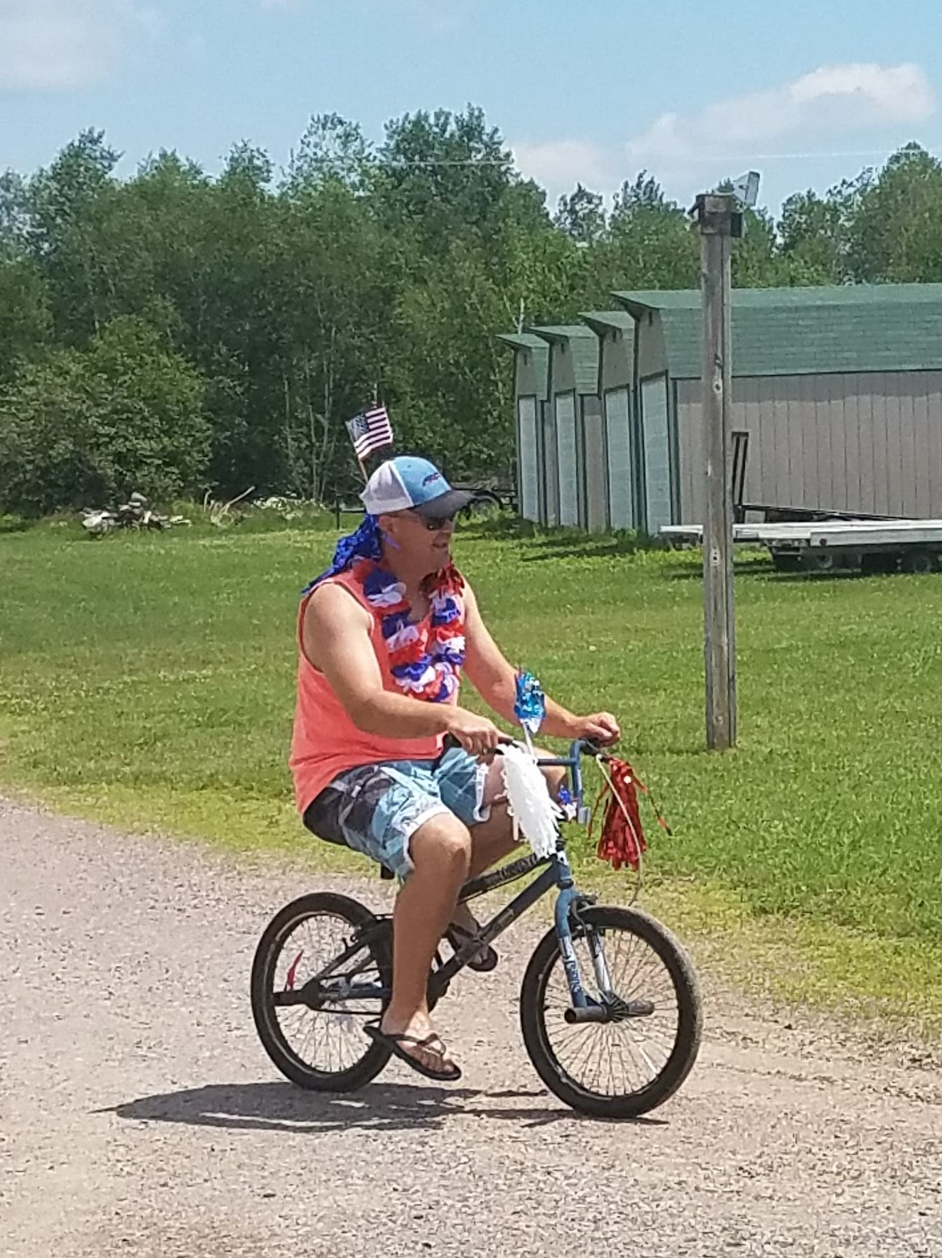 Even adults like to borrow our bikes and take them for a spin around the campground.