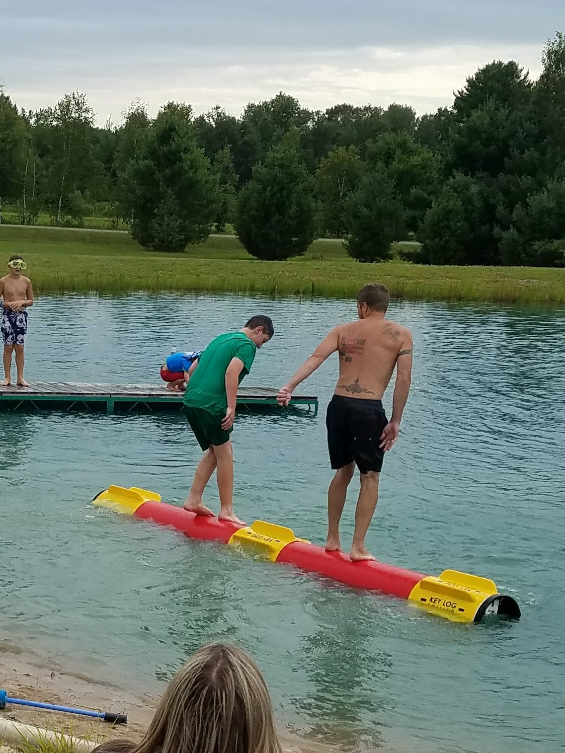 Challenge a friend to a Key Log contest, jump off the dock, slide down the slide or play in the sand at our swim pond.