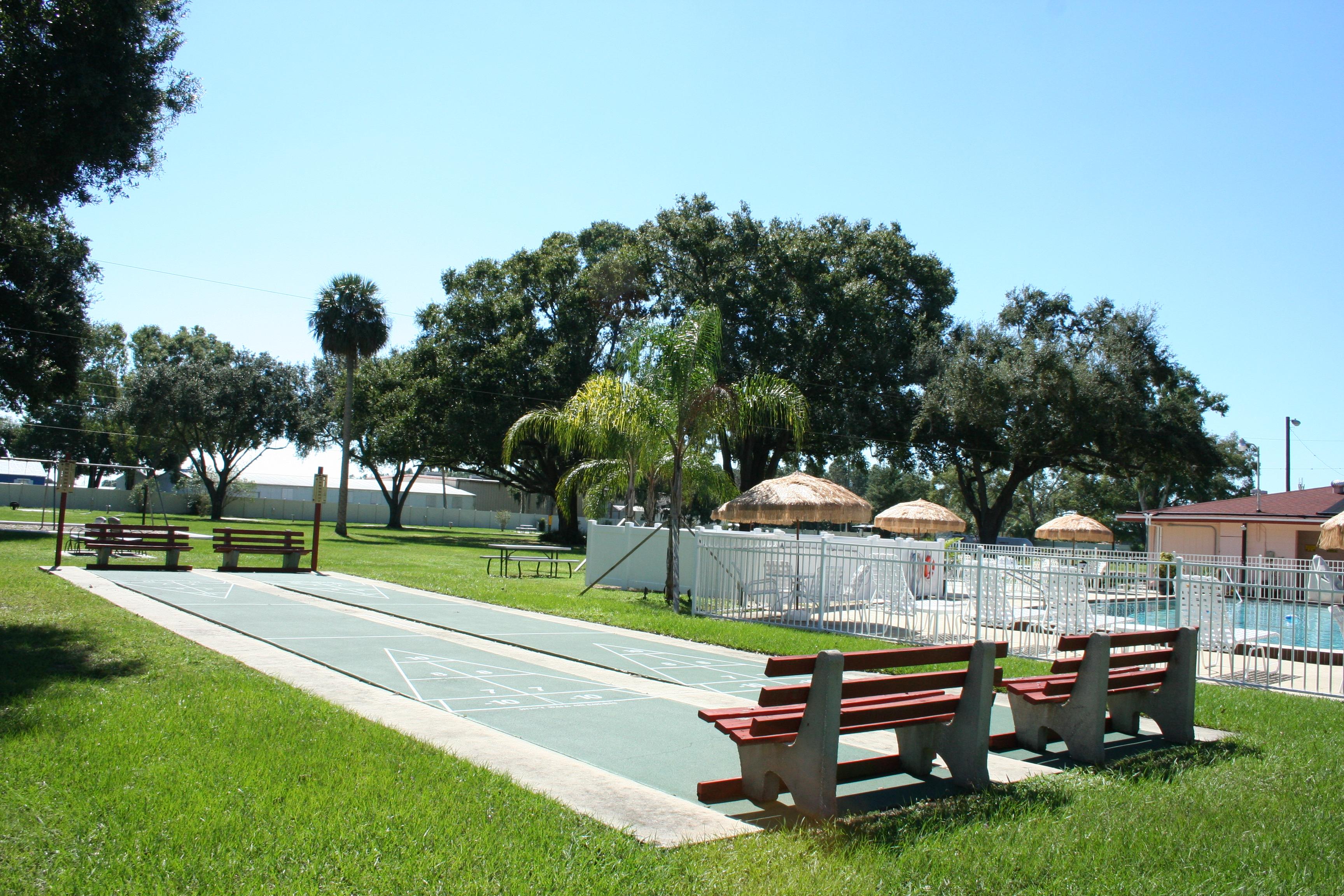 Shuffleboard courts.