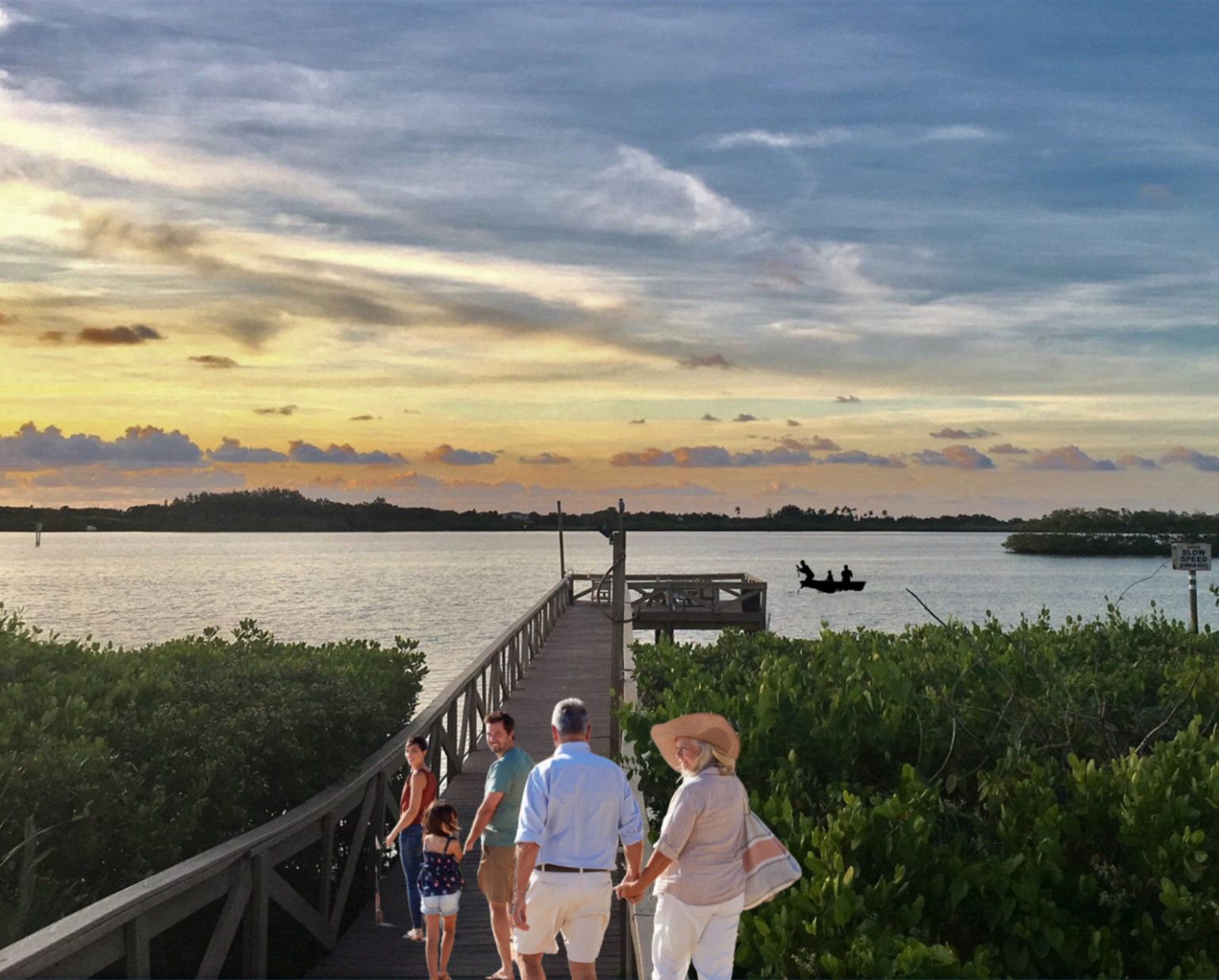 Guests enjoy our outdoor pavilion and a walk out to the end of the fishing pier.
