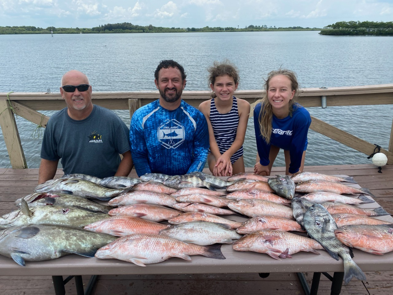 One families catch after a day of spear fishing on Terra Ceia Bay!