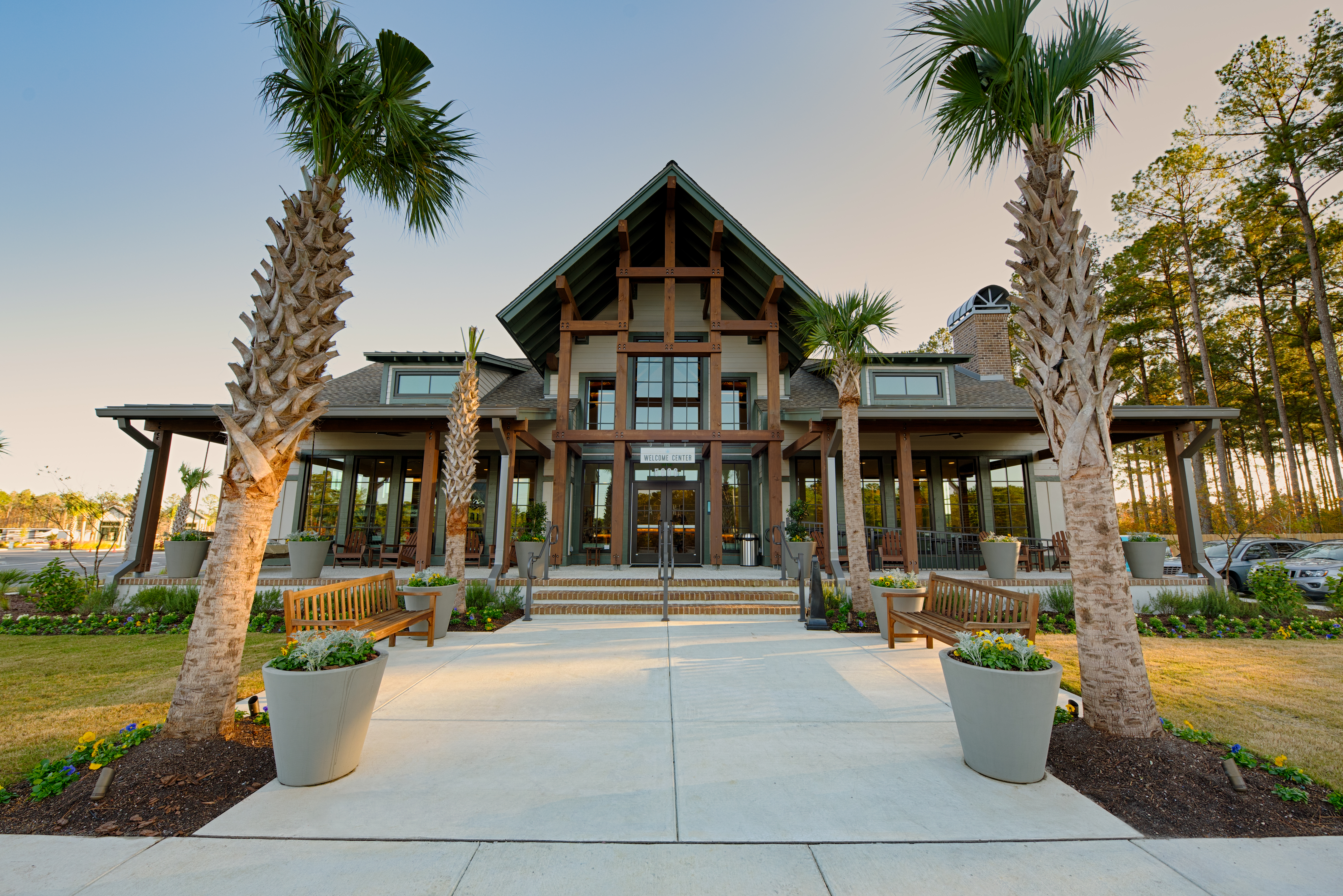 The beautiful Welcome Center and Gift Shop at Carolina Pines RV Resort near Myrtle Beach, South Carolina