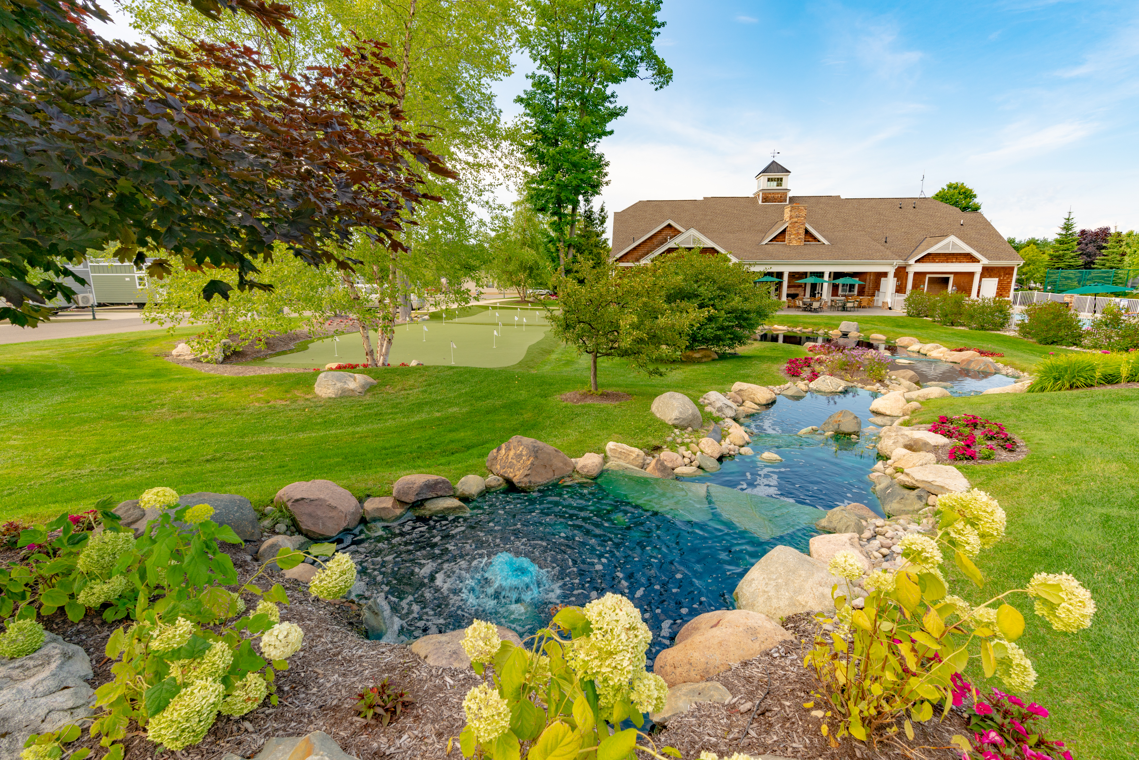 Stunning landscaping at the luxurious Petoskey RV Resort in Petoskey, Michigan