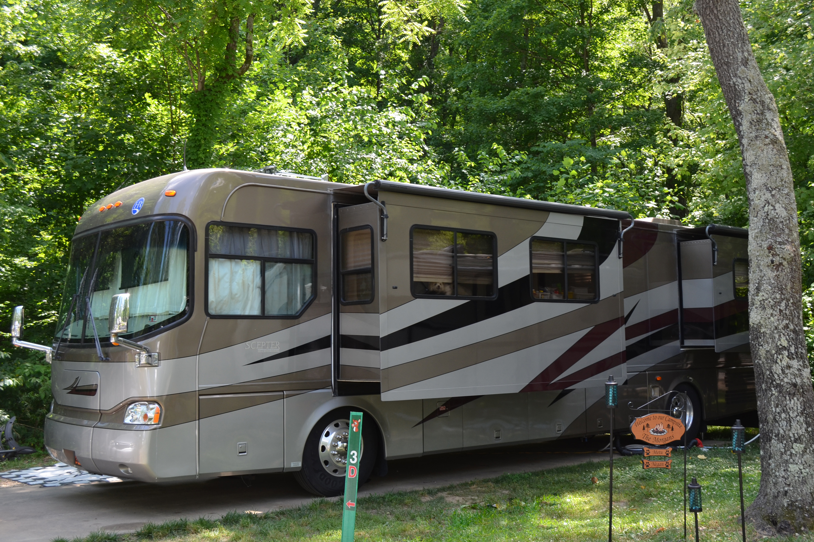 Deluxe RV Site with Concrete Pad at Lake Rudolph Campground & RV Resort in Santa Claus, Indiana