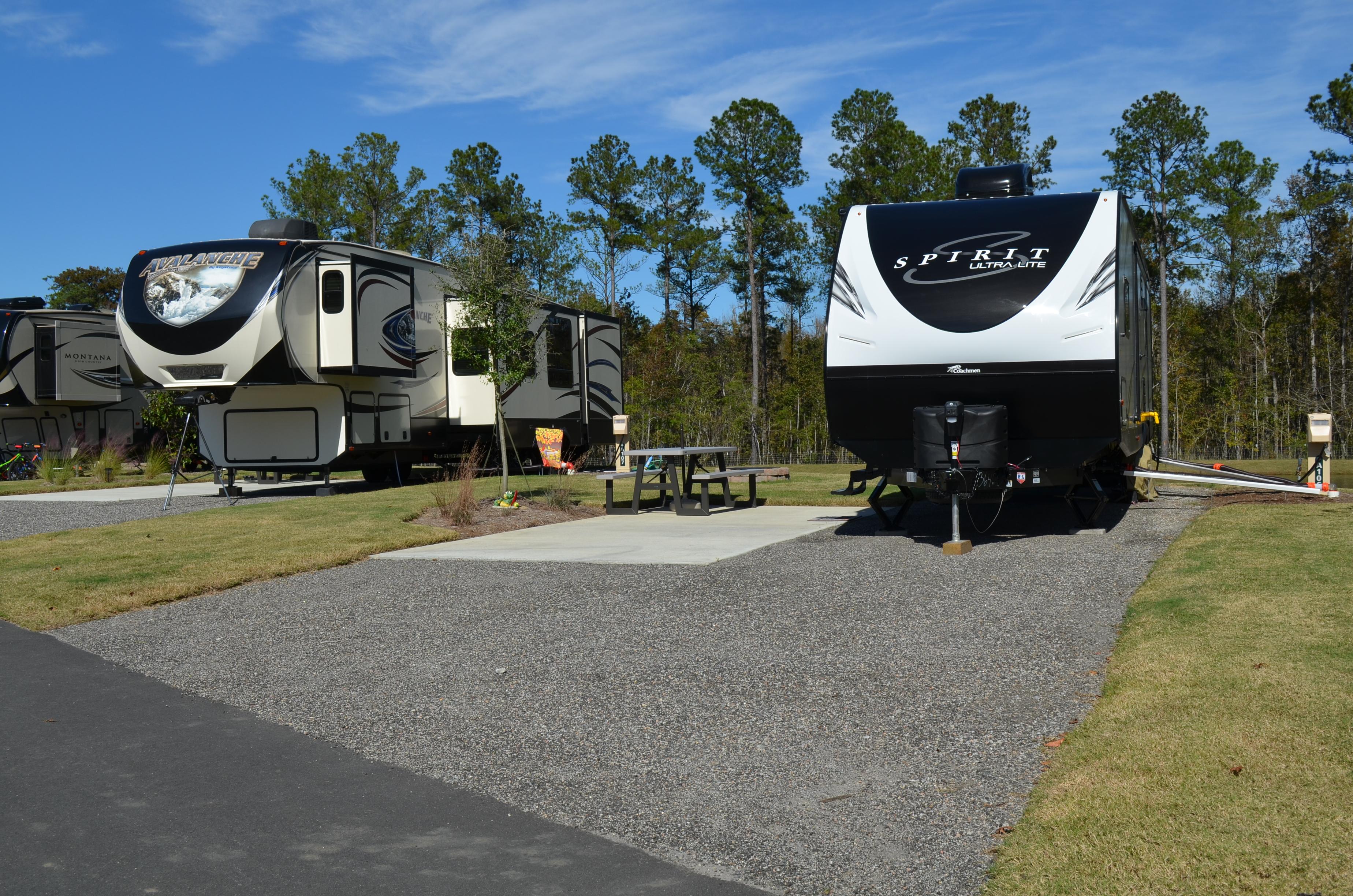 Back in, full hookup RV sites at Carolina Pines RV Resort near Myrtle Beach, South Carolina
