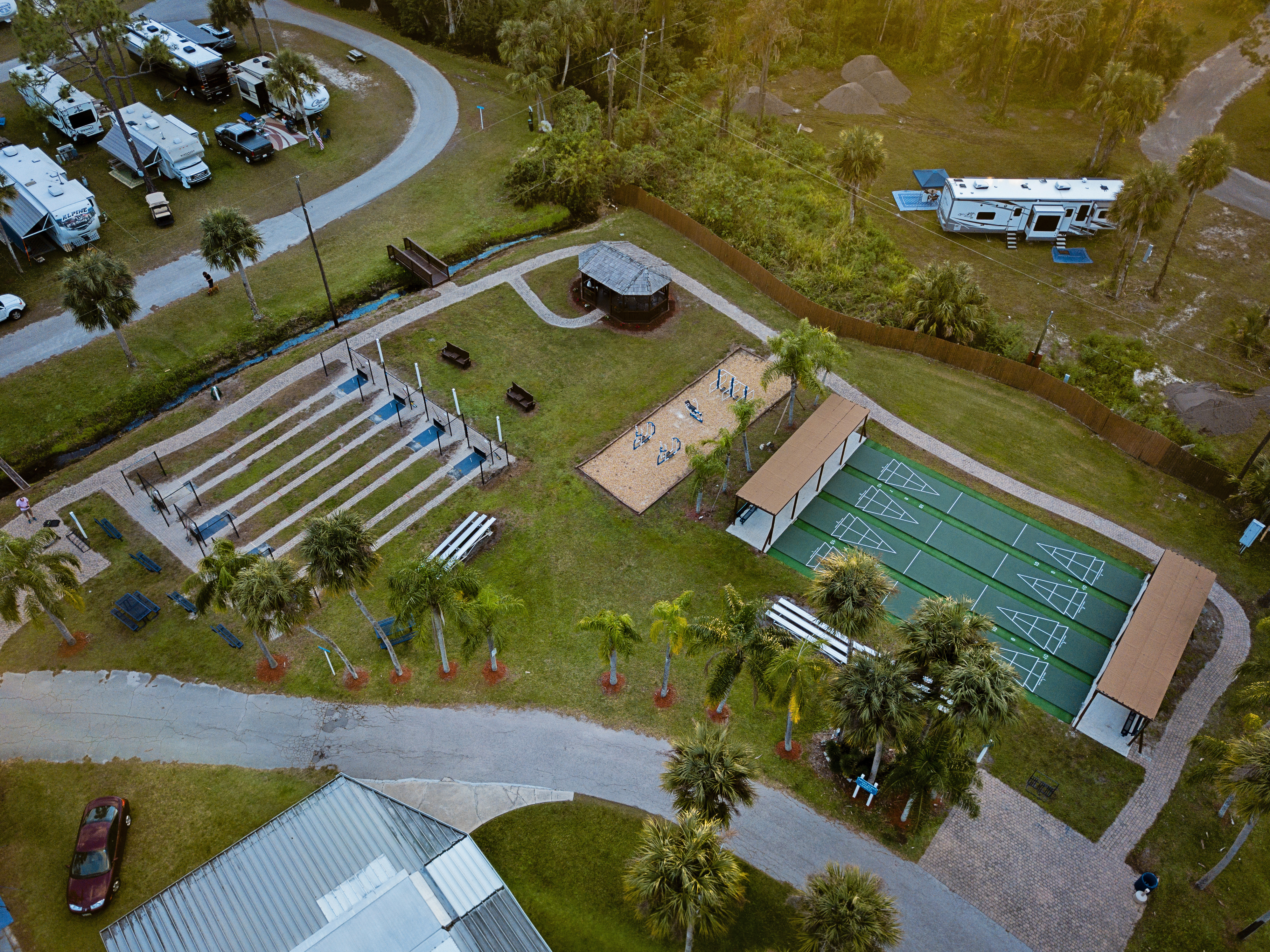 Our outdoor fitness area, horseshoes and shuffleboard.