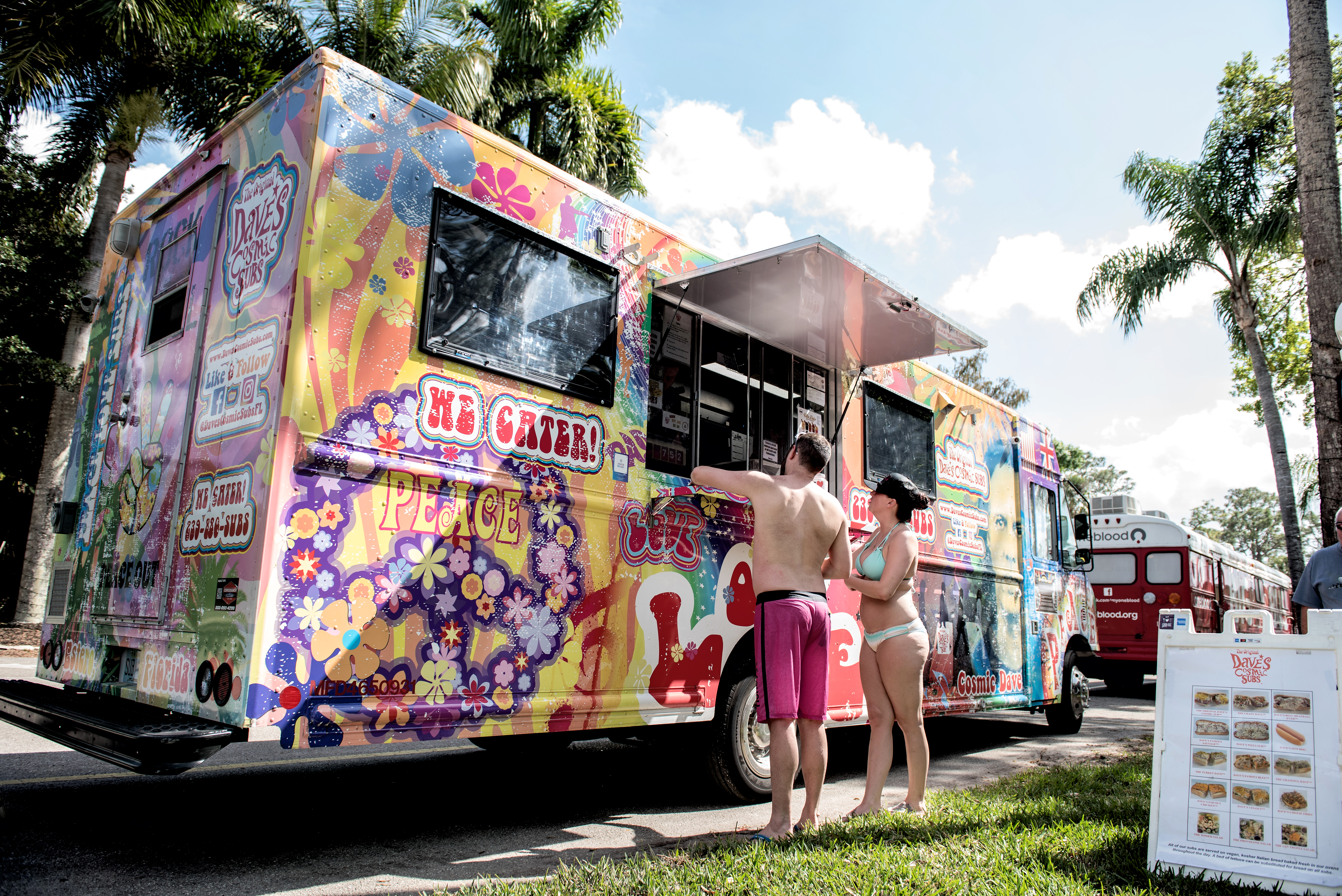 One of the food trucks at our pool party.