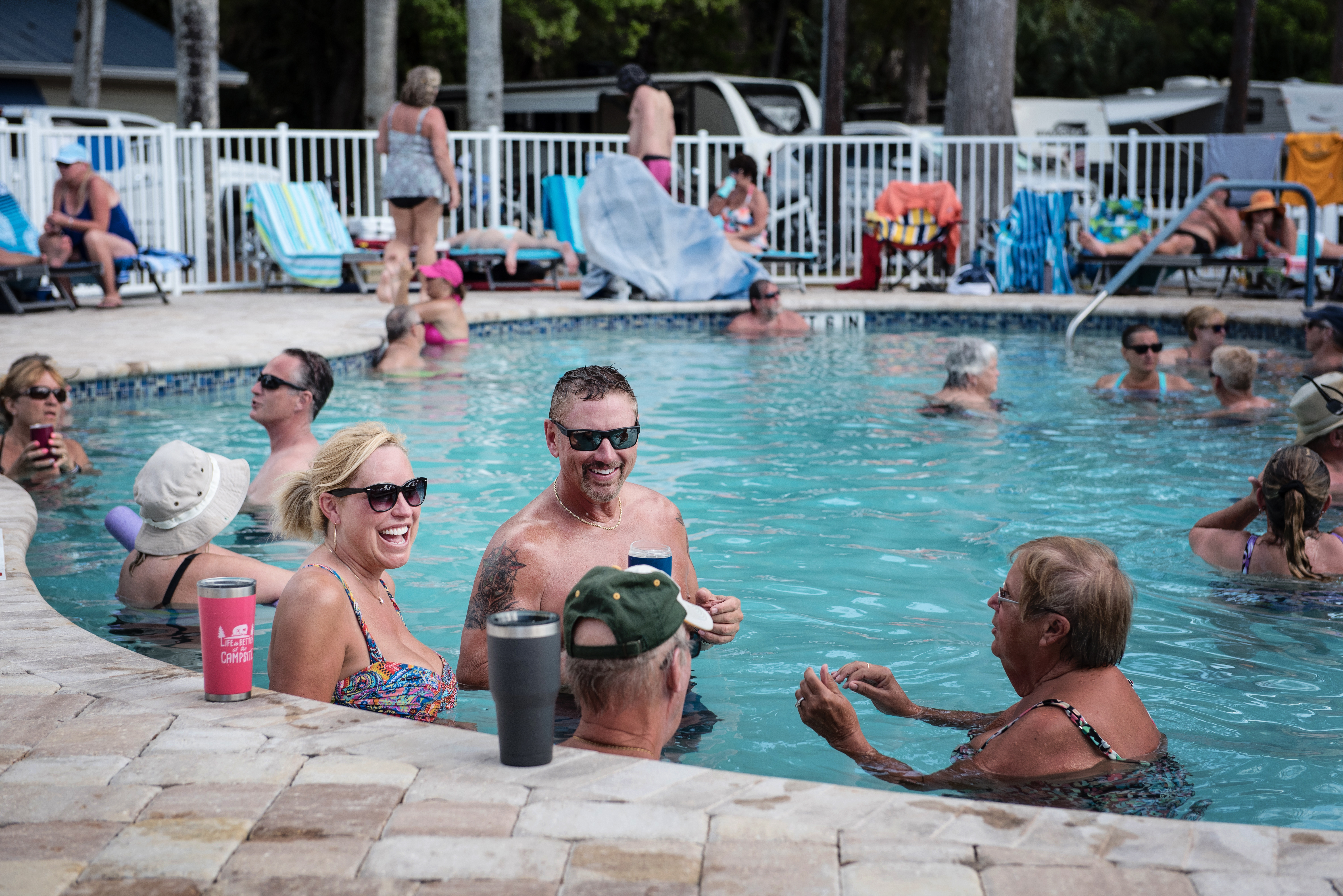 Guests having a great time at our pool complex.