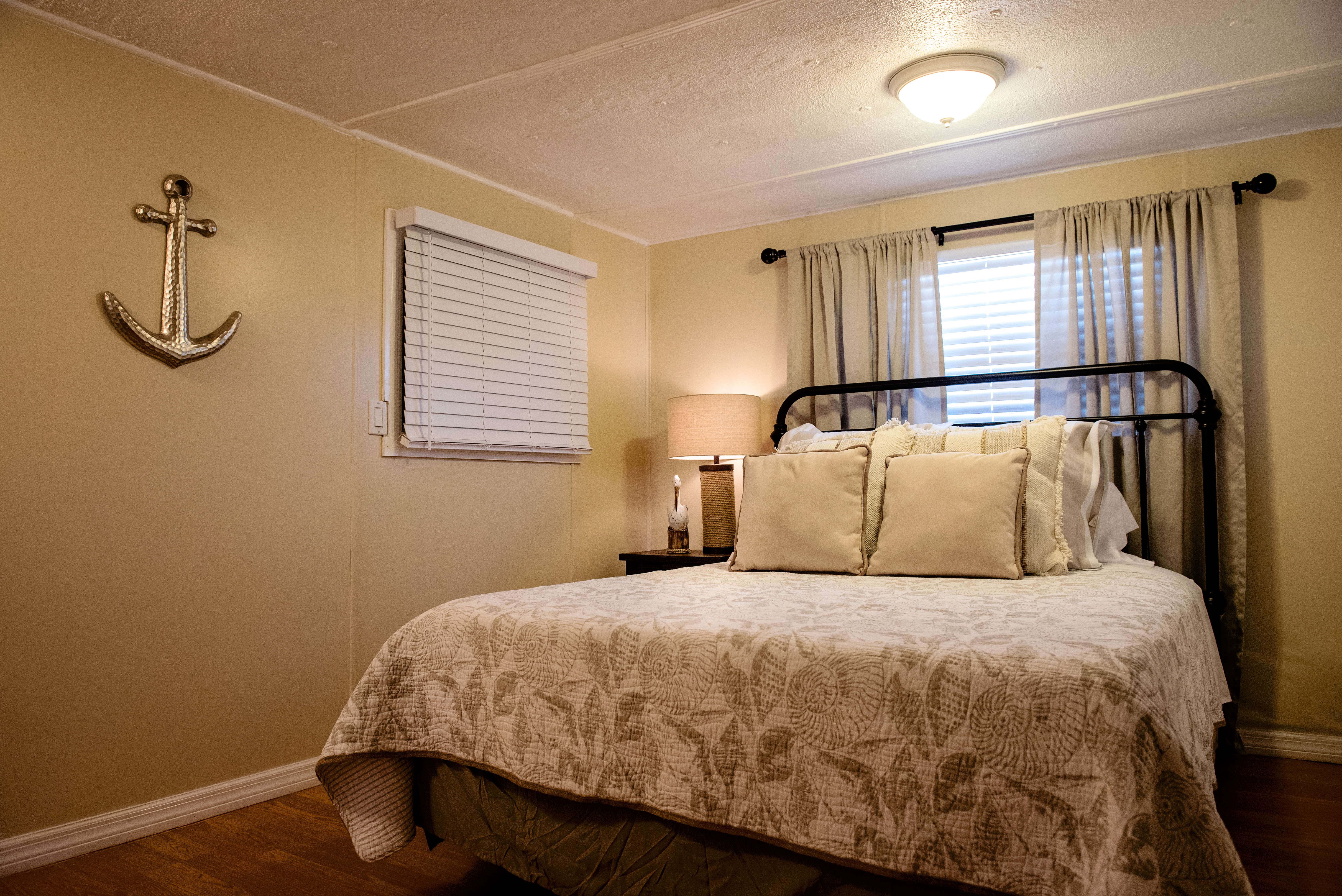 The queen size bedroom at the Sheepshead unit.