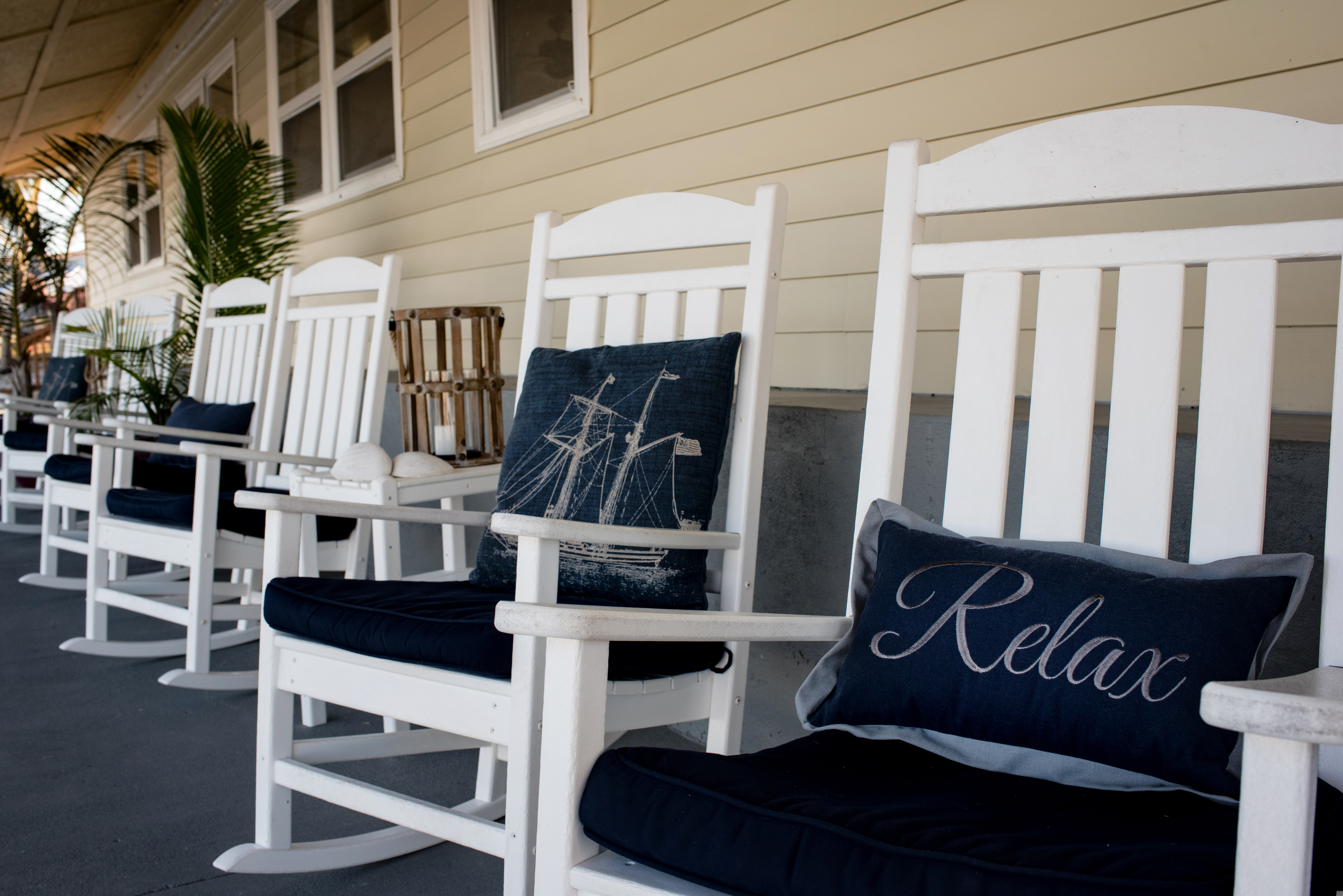 Rocking Chair Row is a great place to hang out and relax.