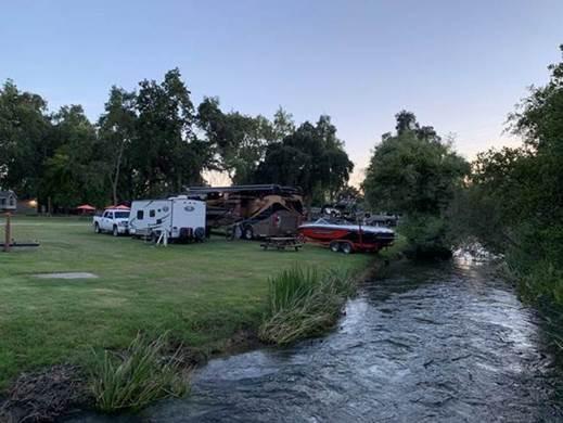 Rv sites on Wildwood creek/ Evening at Riverbend Rv Park