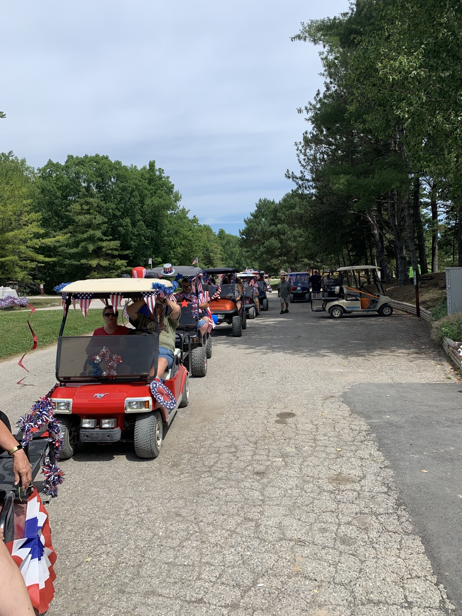 Golf cart parades every month
