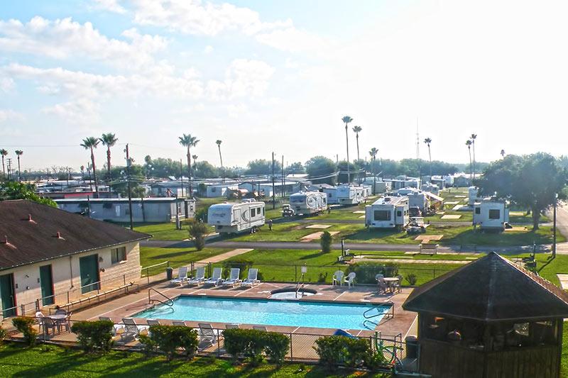 Pool and sites at VIP La Feria RV Park