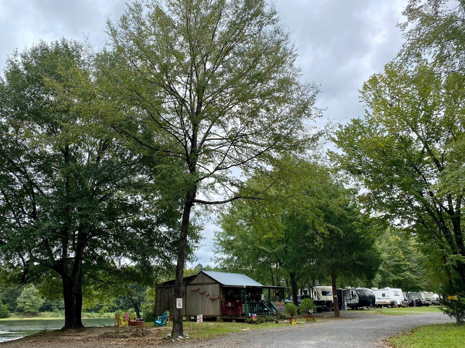 Wendy Oaks office cabin and park entrance