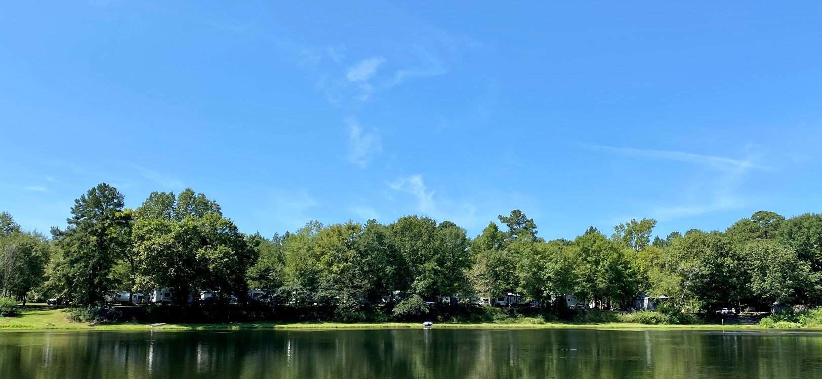 View of Wendy Oaks RV Resort from across the lake