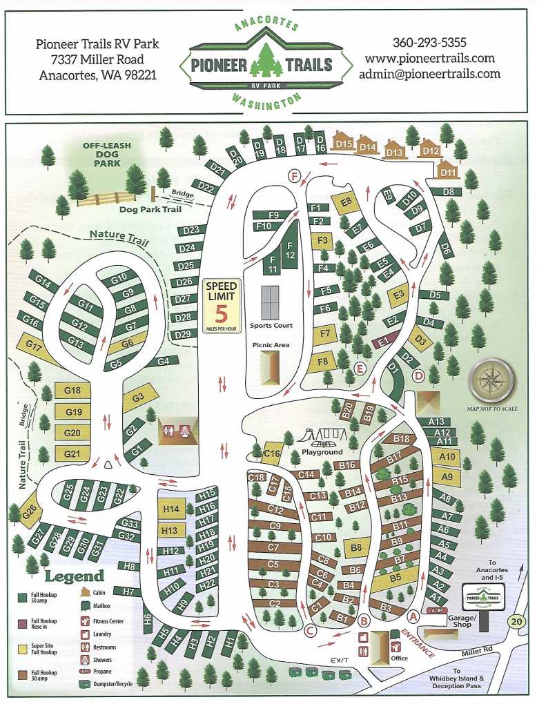 Pioneer Trails RV Park - Park Map
