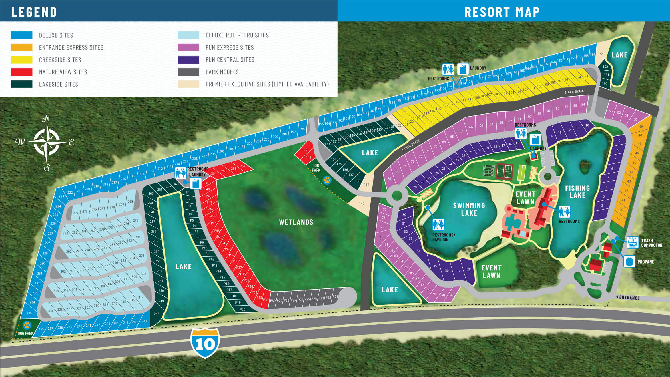 Island Oaks RV Resort - park map