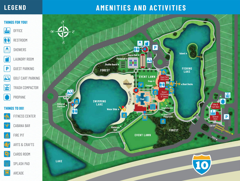 Island Oaks RV Resort - amenities map