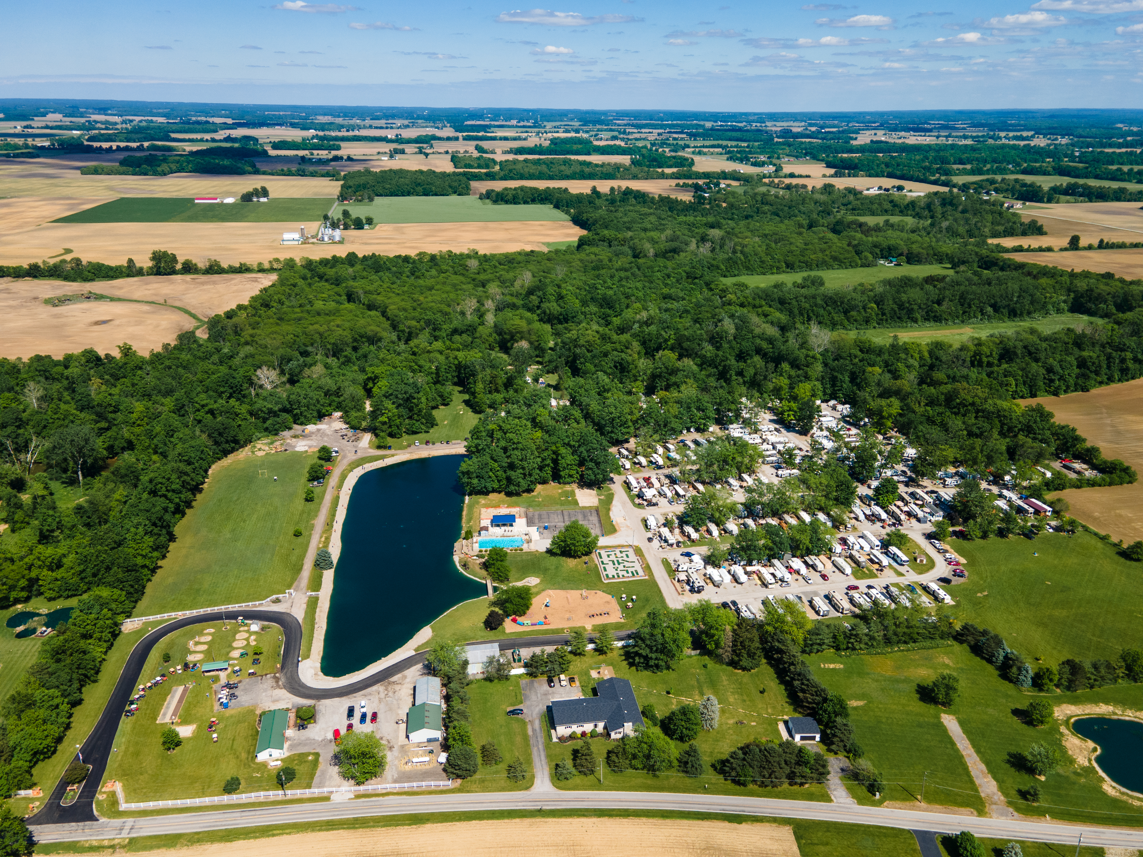 Campground aerial view facing East