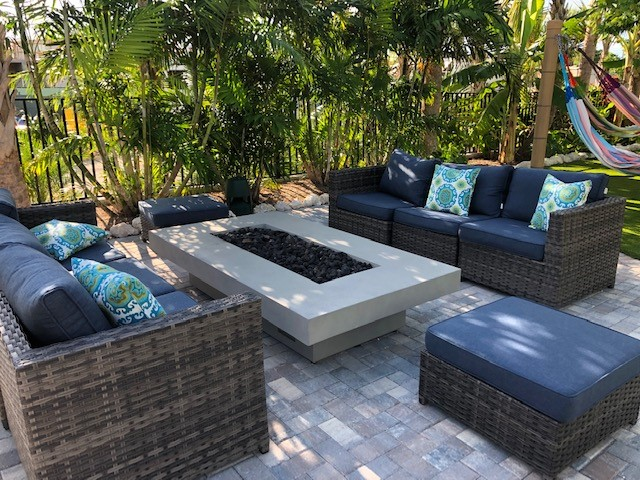 poolside firepits and seating